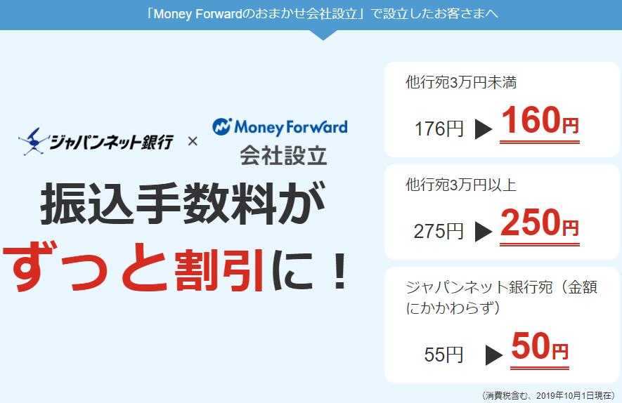 マネーフォワードのおまかせ会社設立を利用した時のジャパンネット銀行振込手数料一覧