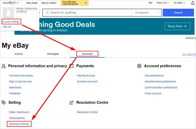 eBayビジネスポリシー設定